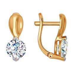 Золотые серьги с фианитом и жемчугом SOKOLOV 792005  Золото 585 ... 449a6d8bac6