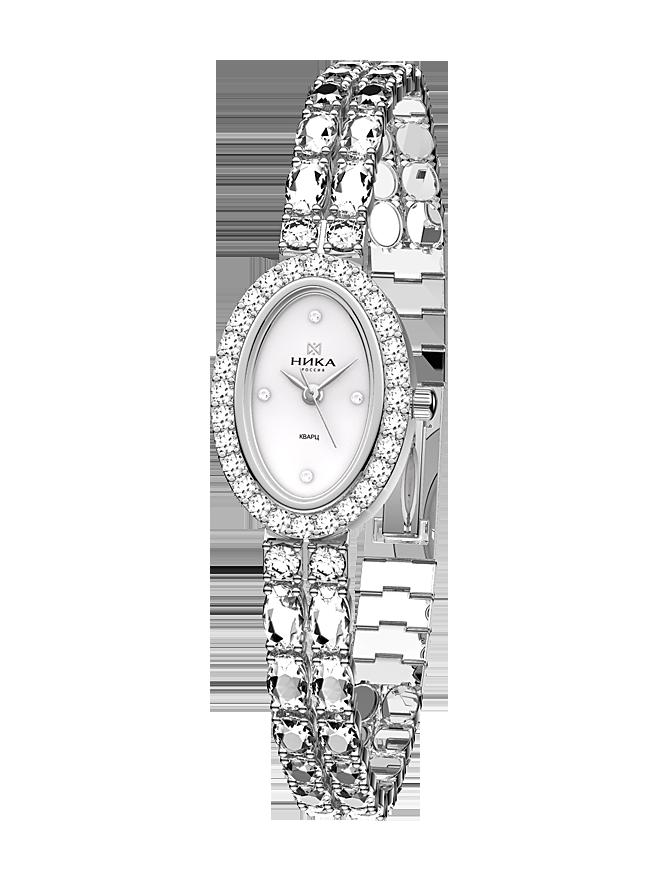 Серебряные часы с фианитом и сапфировым стеклом Часовой завод Ника ... 3b2fa313cc3