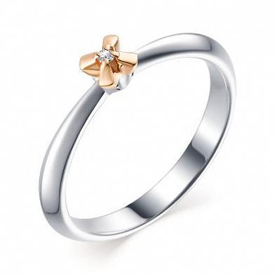 Серебряное кольцо Алькор с золотой накладкой и бриллиантом 01-1650/000Б-00