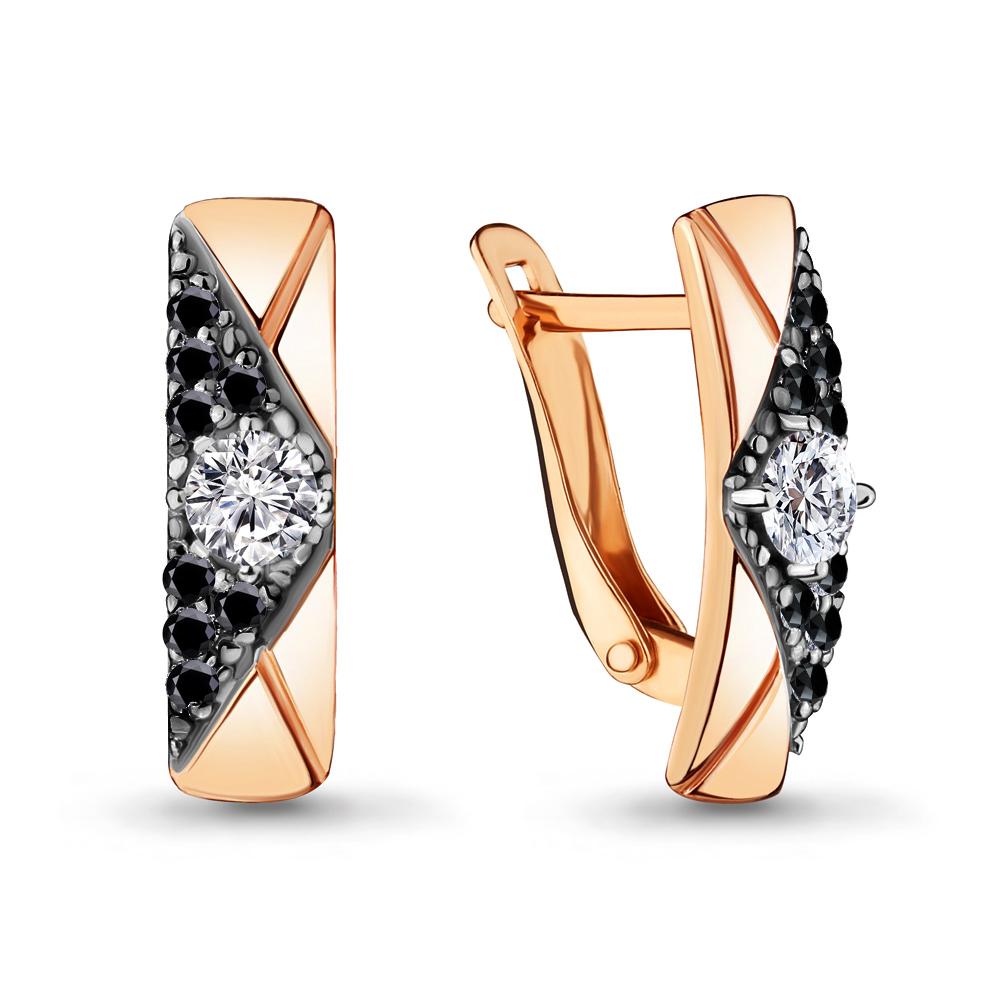 Серьги из золочёного серебра Аквамарин с фианитом и ювелирным кристаллом А46967АЧ-п