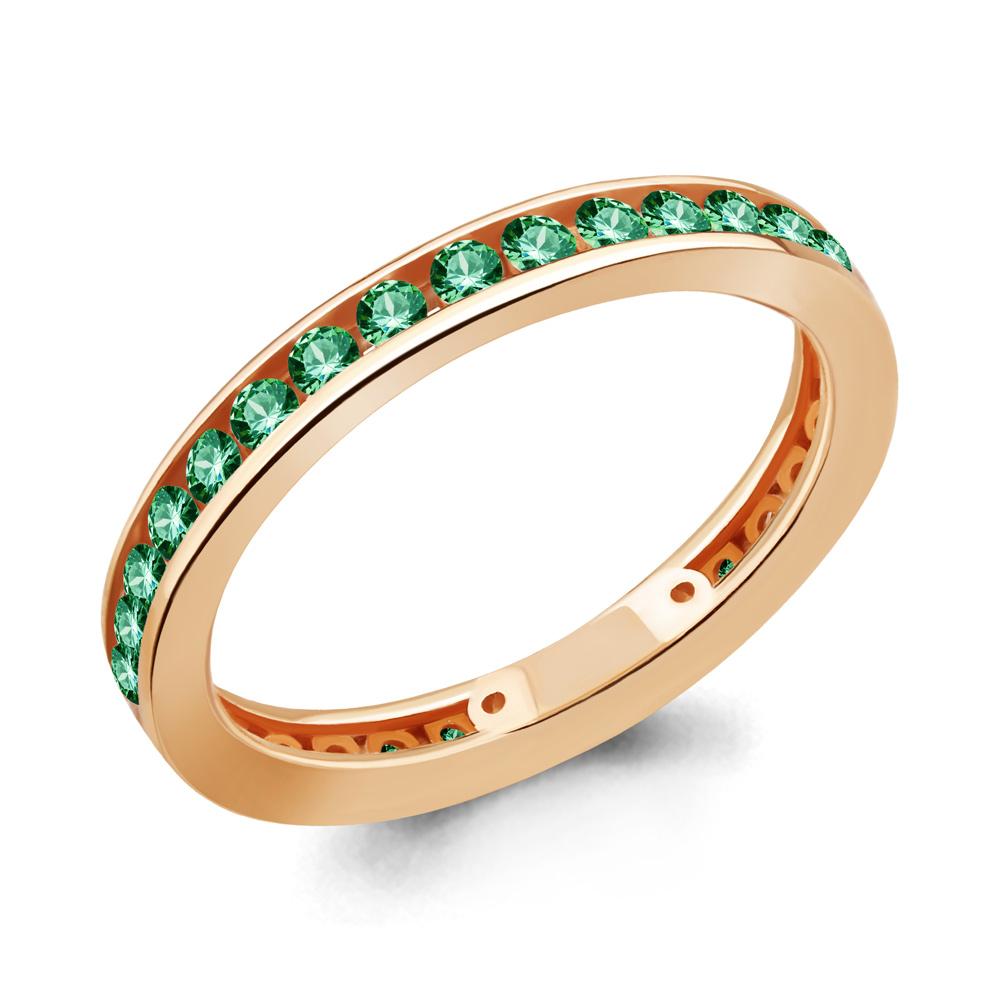 Кольцо из золочёного серебра AQUAMARINE с гидротермальным изумрудом А63353Г-п