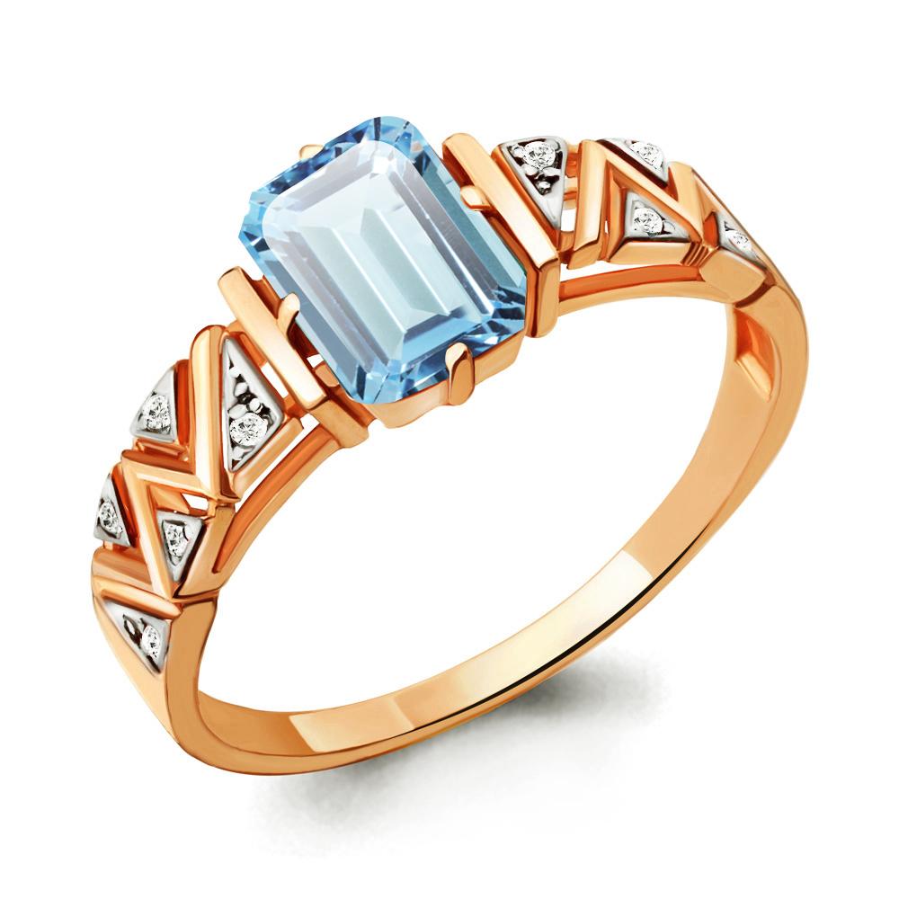 Кольцо из золочёного серебра AQUAMARINE с фианитом и турмалином А6913688А-пк