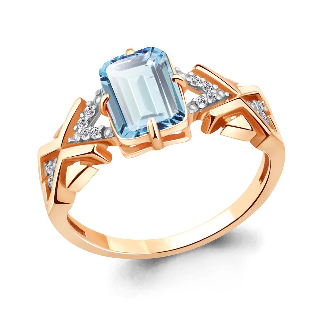 Кольцо из золочёного серебра AQUAMARINE с фианитом и турмалином А6914088А-п