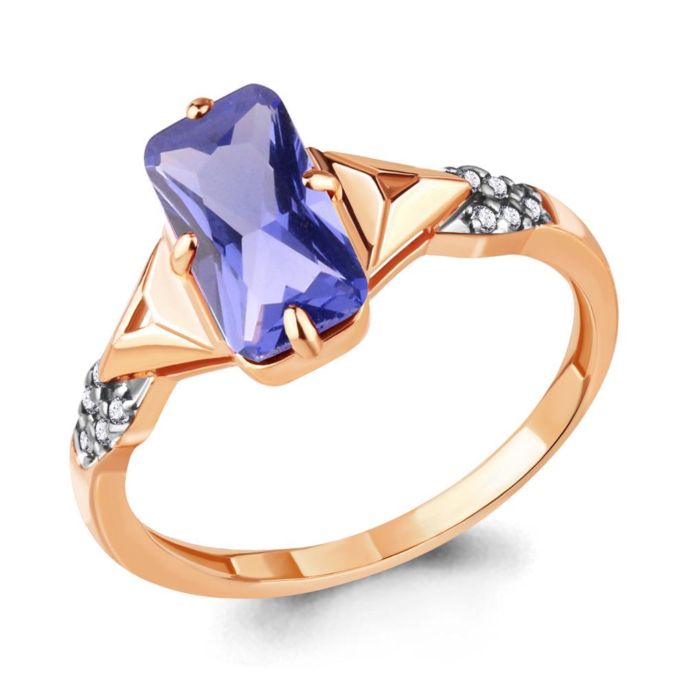 Кольцо из золочёного серебра AQUAMARINE с фианитом и танзанитом А69143603А-п