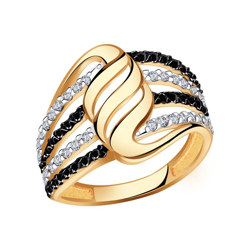 Золотое кольцо Красносельский ювелир с фианитом РКд3583