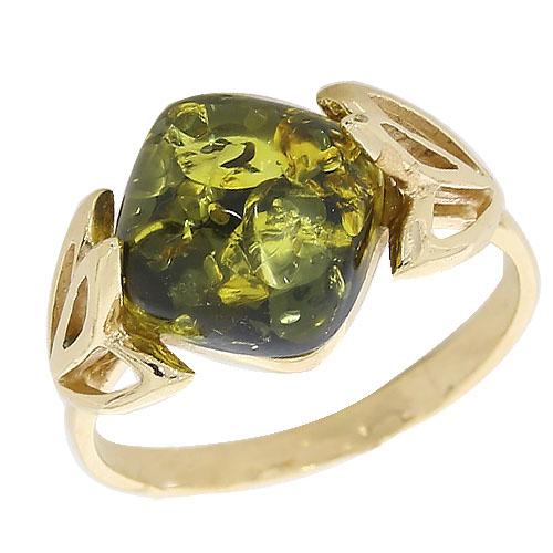 Кольцо из золочёного серебра Янтарная волна с янтарём Я820046п-з