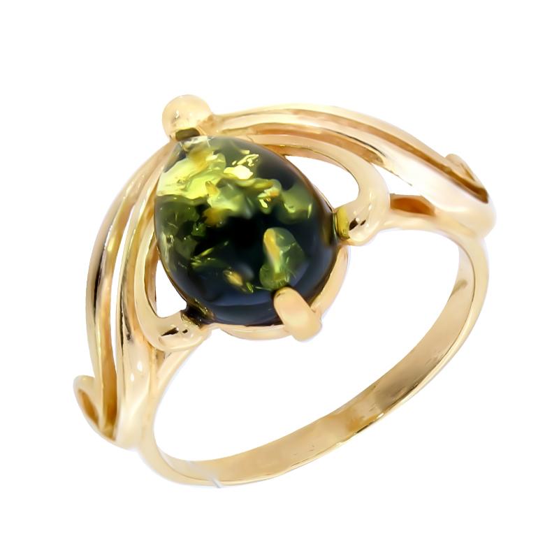 Кольцо из золочёного серебра Янтарная волна с янтарём Я820131п-з