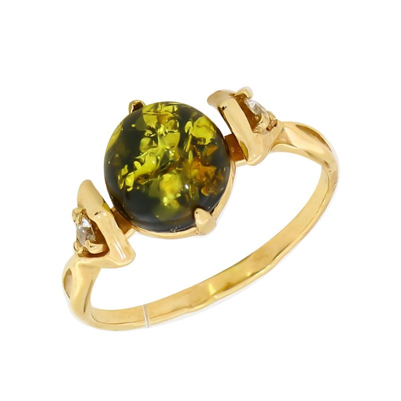 Кольцо из золочёного серебра Янтарная волна с фианитом и янтарём Я820143п-з