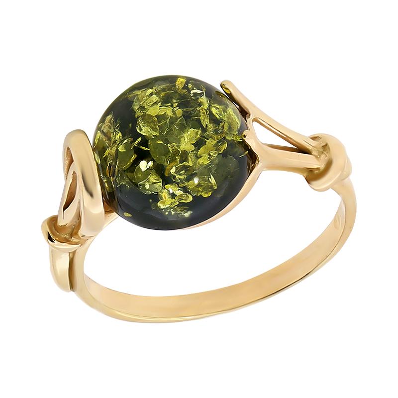 Кольцо из золочёного серебра Янтарная волна с янтарём Я820159п-з
