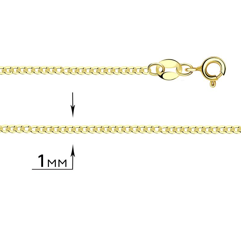 Цепь плетение Панцирное из лимонного золота ТД Эстет 01Ц7300835