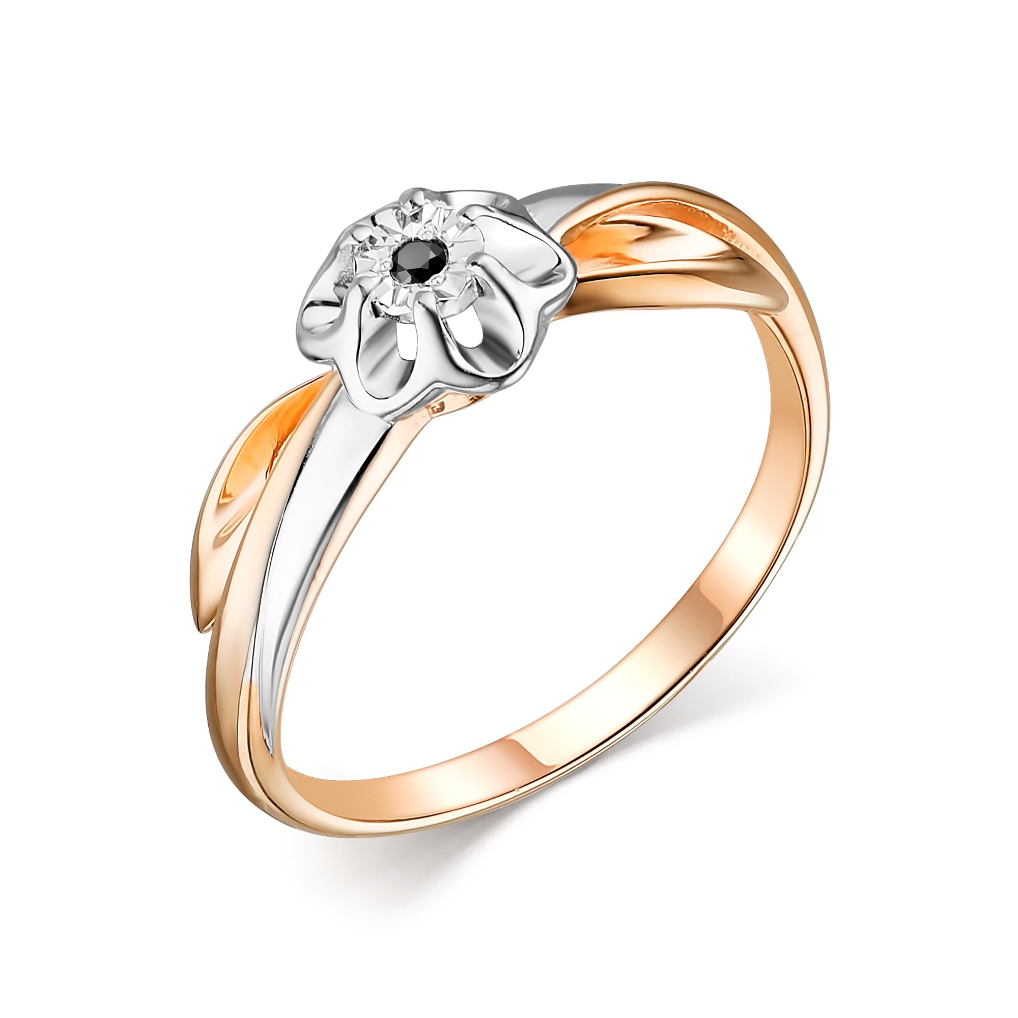 Серебряное кольцо АЛЬКОР с бриллиантом 01-1613/00ЧБ-06