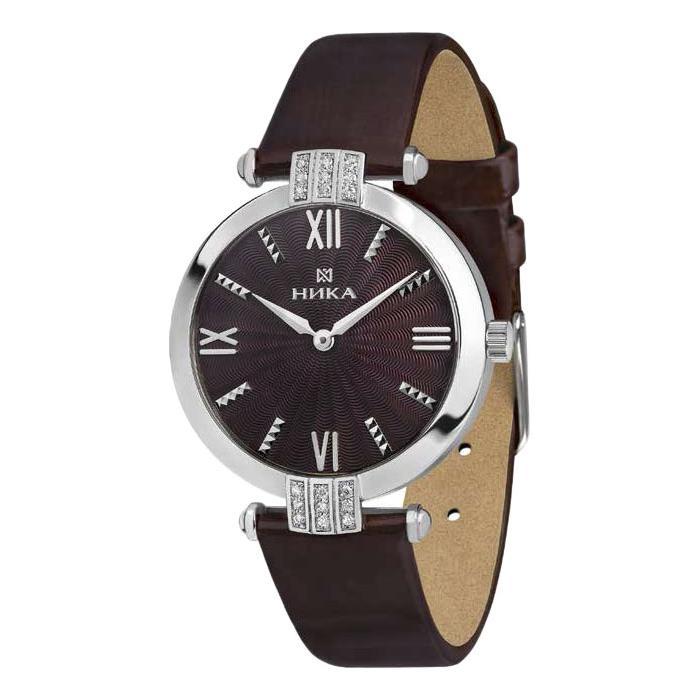 Серебряные часы Часовой завод Ника с фианитом и минеральным стеклом 0111.2.9.61B