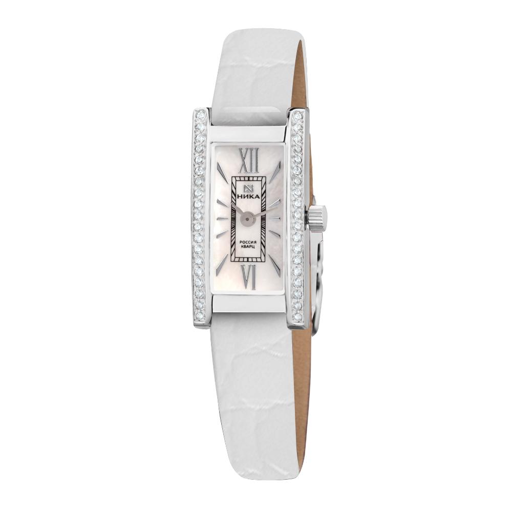 Серебряные часы Часовой завод Ника с фианитом и сапфировым стеклом 0438.2.9.31Н