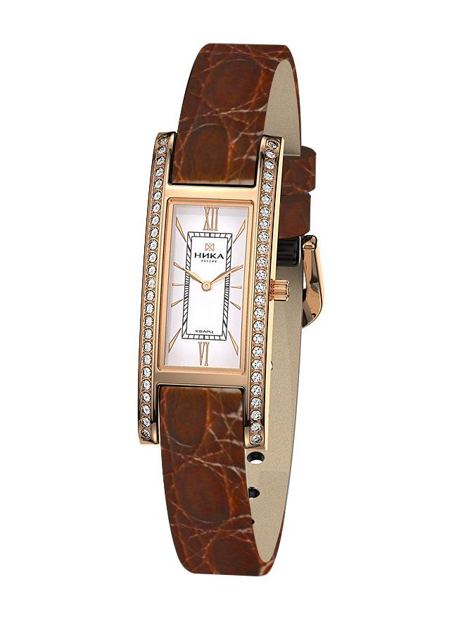 Золотые часы Часовой завод Ника с фианитом и сапфировым стеклом 0446.2.1.11Н