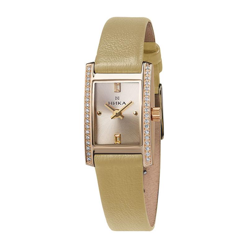 Золотые часы Часовой завод Ника с фианитом и минеральным стеклом 0450.2.1.46А — купить в ювелирном интернет-магазине Diamant
