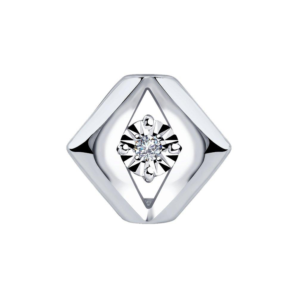 Подвеска из белого золота SOKOLOV с бриллиантом 1030739