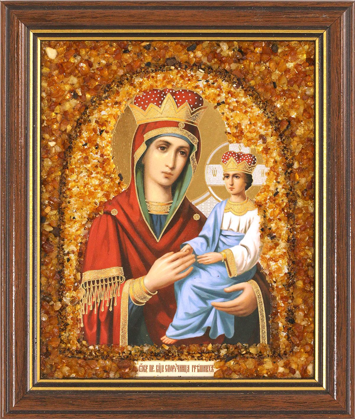 Икона ручной работы с натуральным янтарём Божией Матери Споручница Грешных 6522180408256