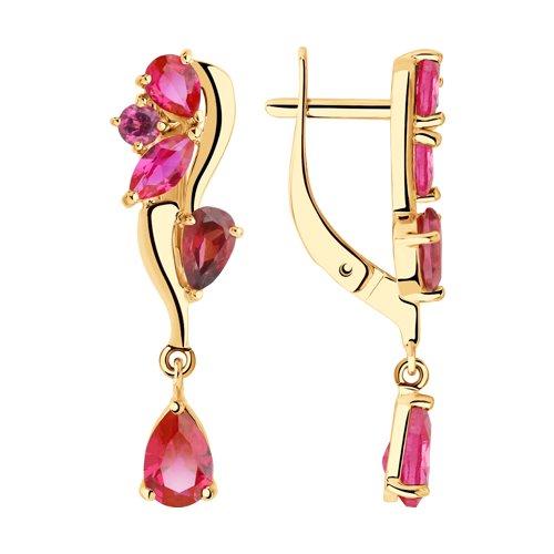 Золотые серьги SOKOLOV с родолитом и рубиновым корундом 725823