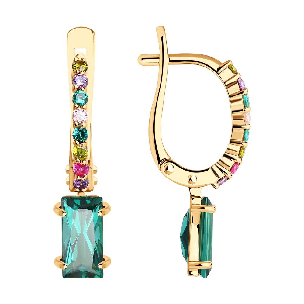 Золотые серьги SOKOLOV с фианитом, миксом камней, рубиновым корундом и турмалином 727359