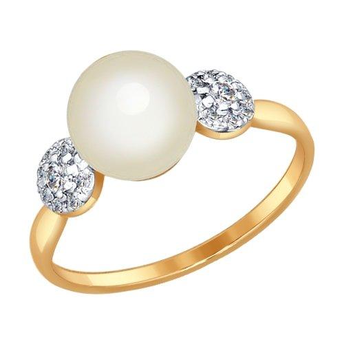 Золотые серьги с фианитом и жемчугом SOKOLOV 792013  Золото 585 ... 299428fe13b