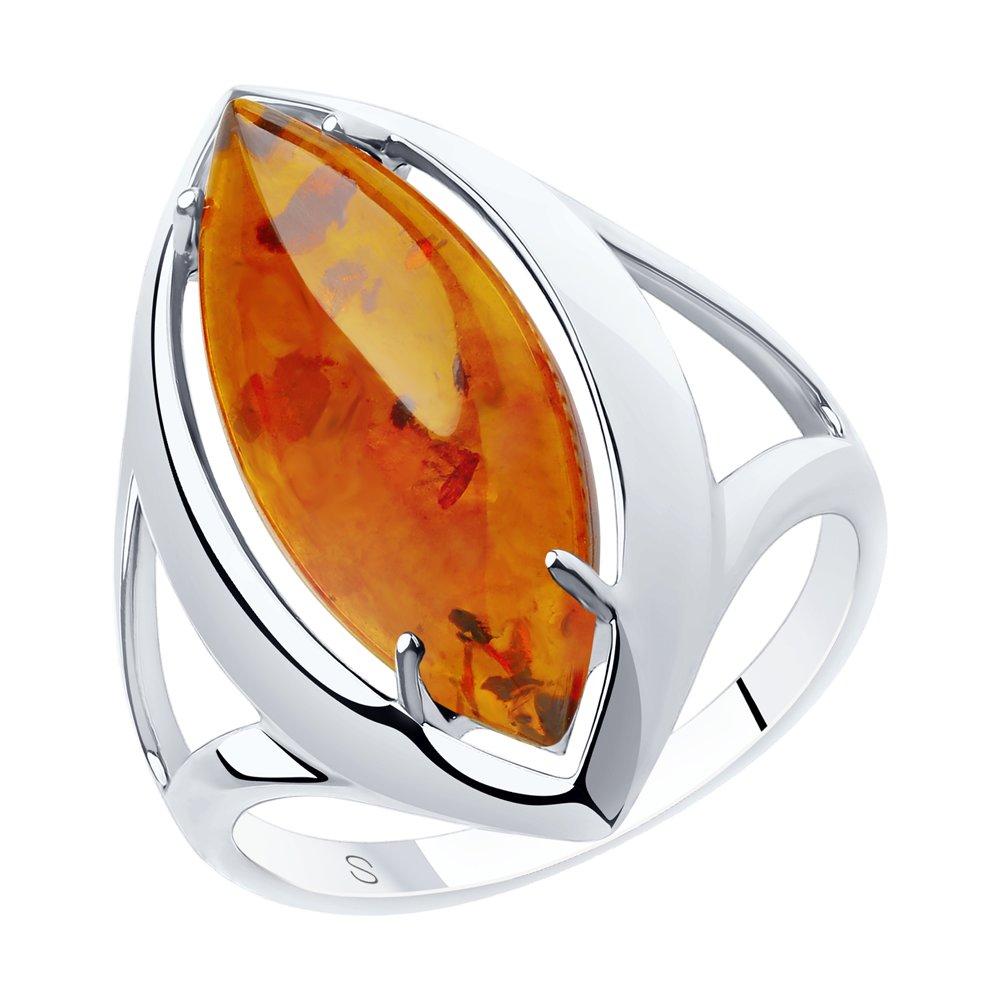 Серебряное кольцо SOKOLOV с янтарём 83010058