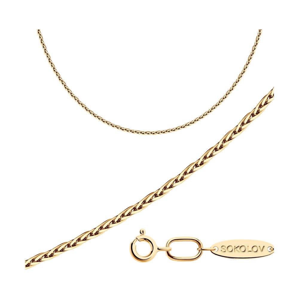 Цепь плетение Лисий хвост из золочёного серебра SOKOLOV 93080002