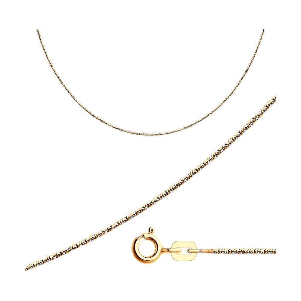 Цепь плетение Снейк (Тонда) из золочёного серебра SOKOLOV 94074444