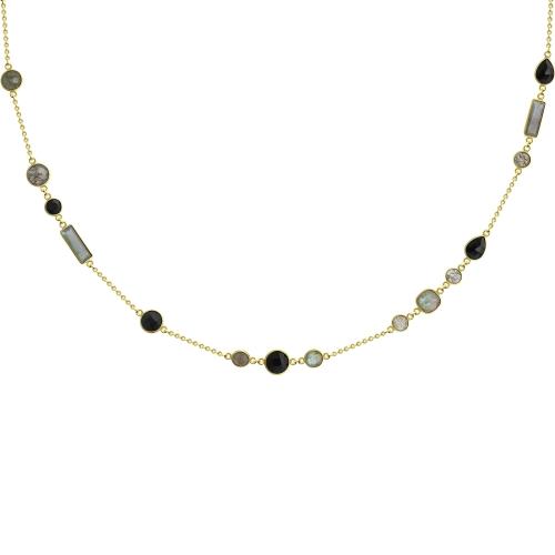 Колье из золочёного серебра SOKOLOV с ониксом и миксом камней 94074627