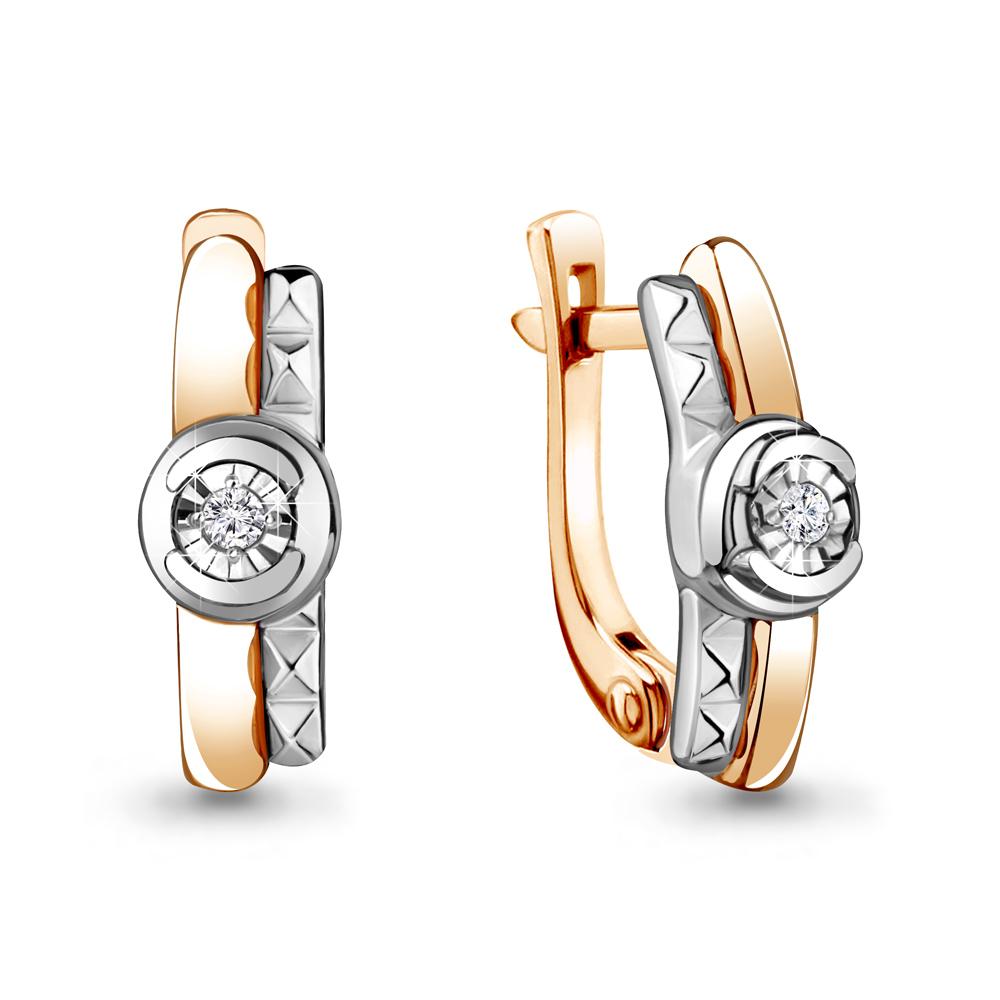 Золотые серьги с бриллиантом Аквамарин 941929к  Золото 585 пробы ... bd964d675160d