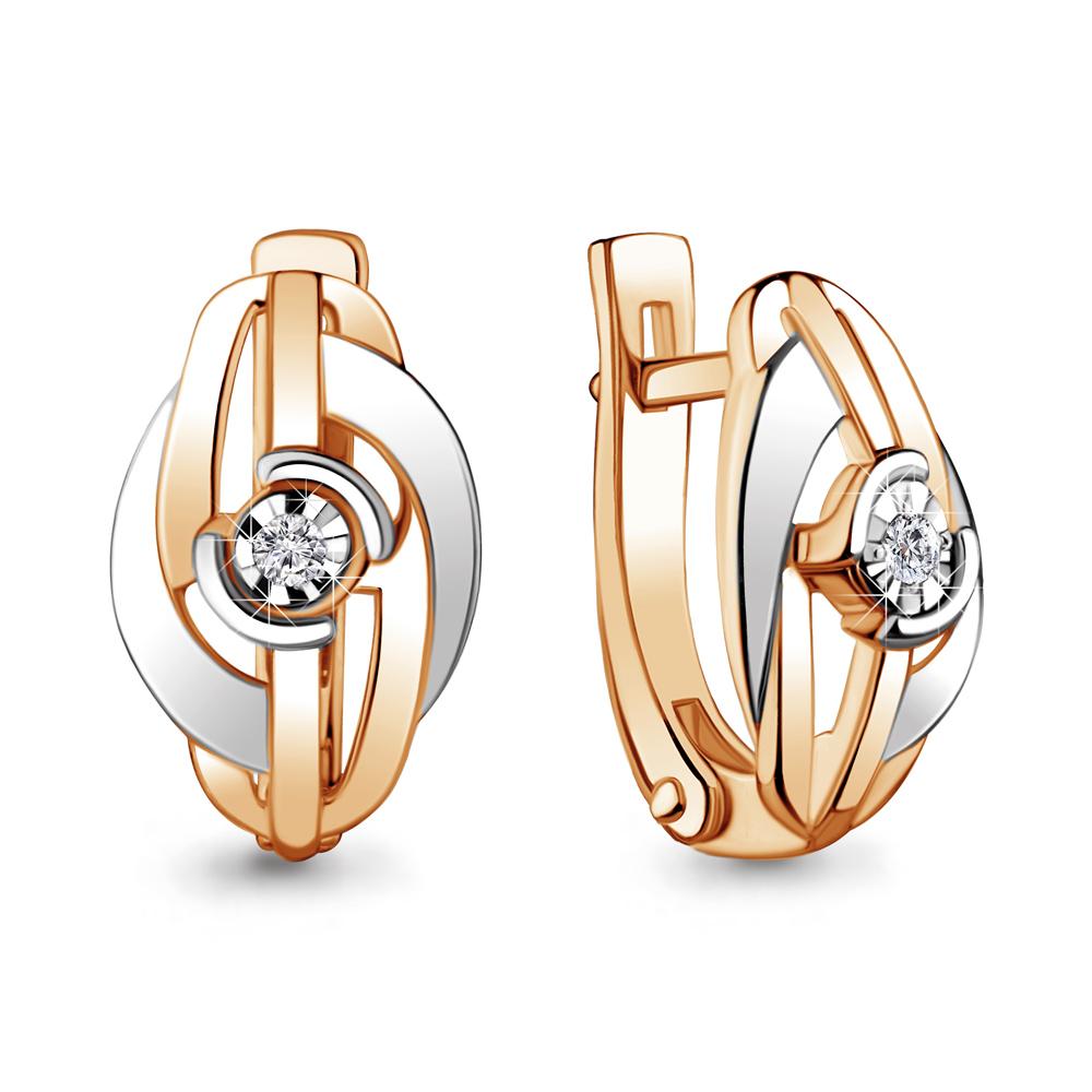 Золотые серьги с бриллиантом Аквамарин 941931к  Золото 585 пробы ... efeeb03724f59