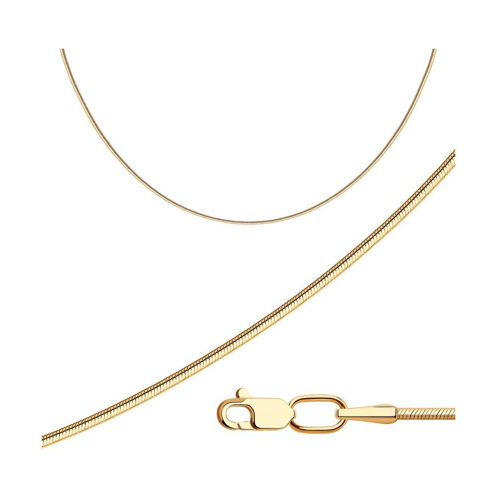 Цепь плетение Снейк (Тонда) из золочёного серебра SOKOLOV 988010300