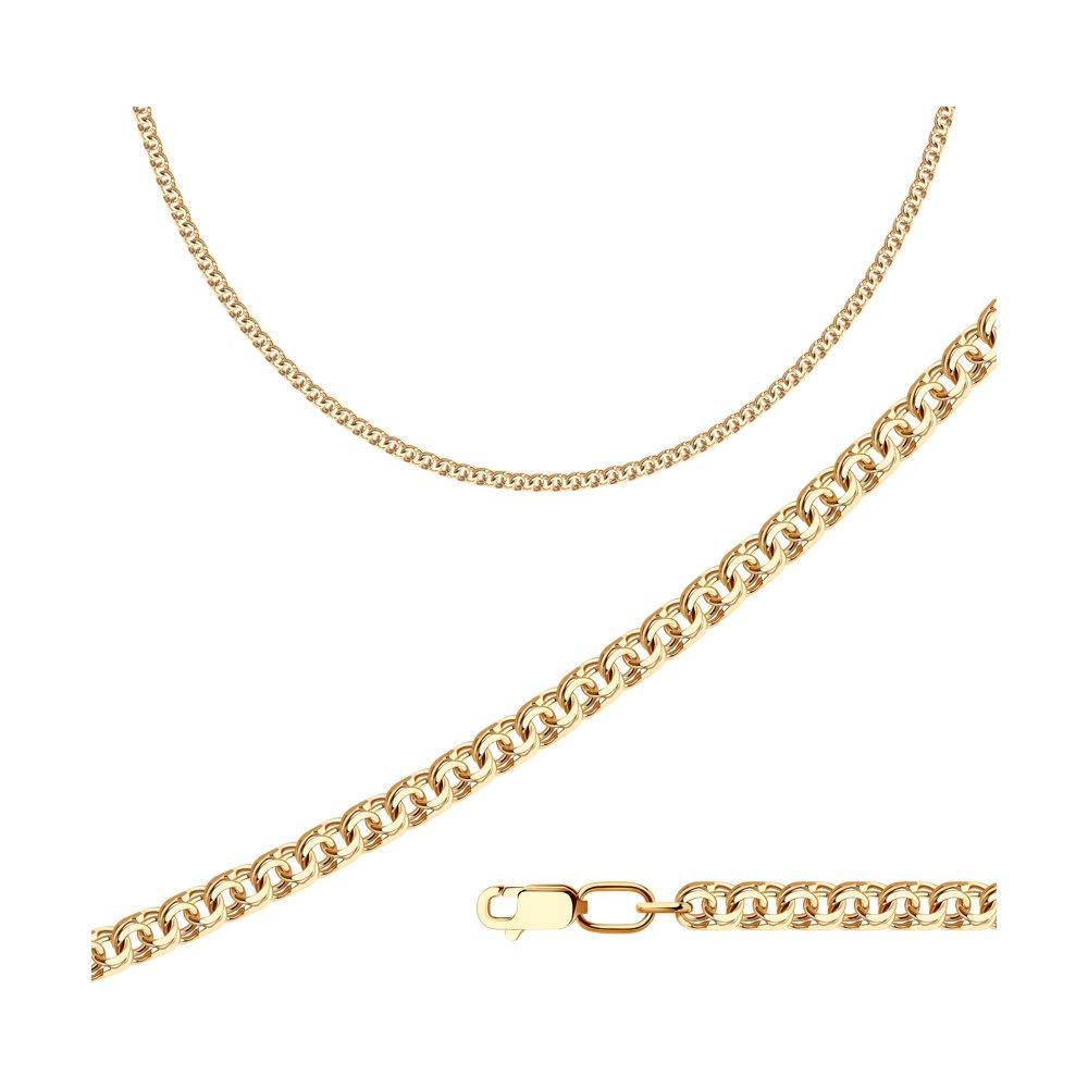 Цепь плетение Бисмарк из золочёного серебра SOKOLOV 988140704