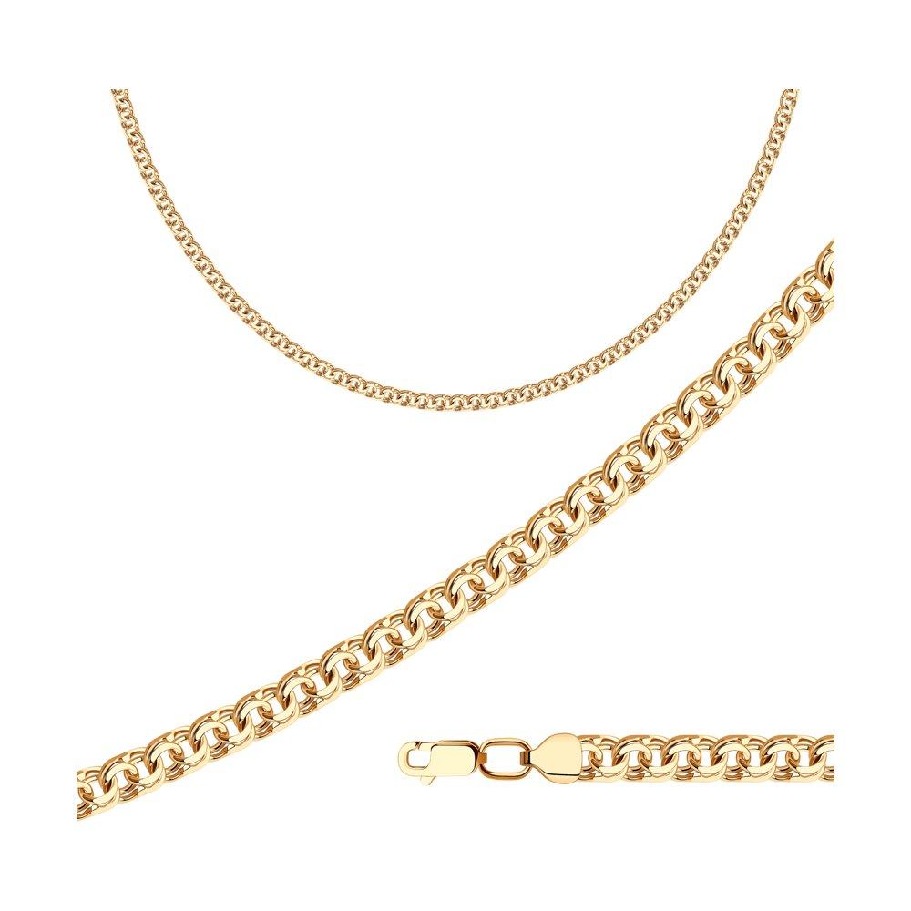 Цепь плетение Бисмарк из золочёного серебра SOKOLOV 988140804